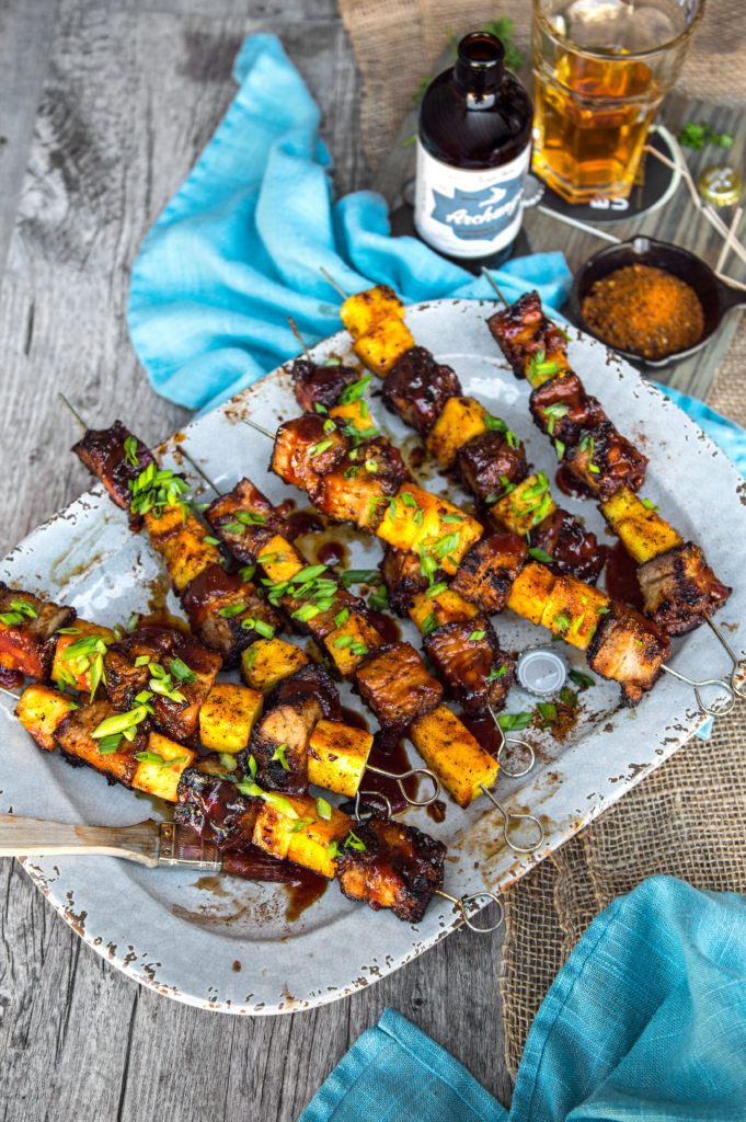 BBQ Grilled Recipe Pork Belly And Pineapple Skewers Kabobs Kebobs