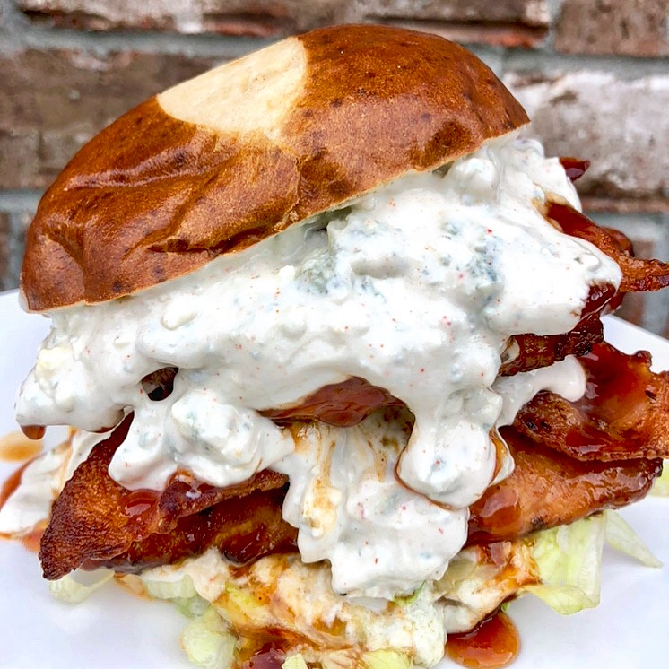 Blue Cheese BBQ Chicken Sandwich | Best Sweet And Spicy Burger Recipe With Blue Cheese And Bacon