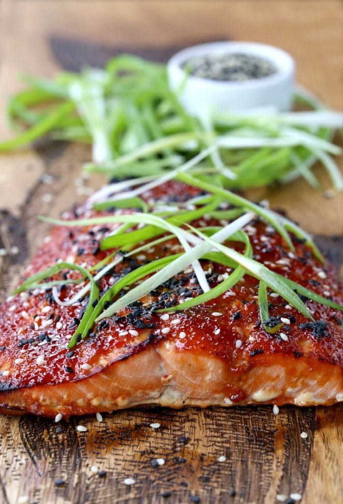 Oven Baked Asian BBQ Salmon With Sesame Seeds and Scallions | Quick, Healthy, Delicious | International BBQ Cuisine