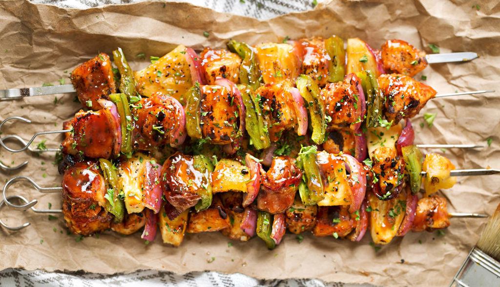 Grilled Chicken Kabobs with Barbecue BBQ Sauce