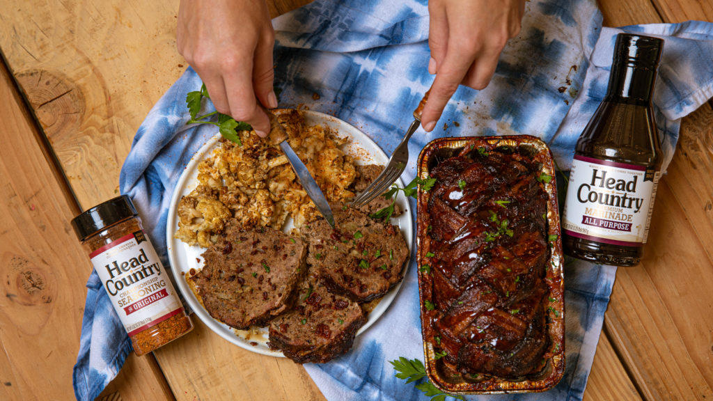 This Smoked Marinated Meatloaf for BBQ and Grilling comes complete with a bacon-woven crust.