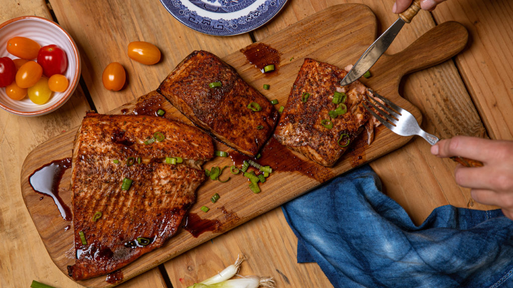 This Marinated Smoked Salmon Recipe for BBQ and Grilling is just two ingredients and super fast on the grill.