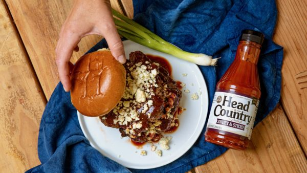 Sweet Sticky BBQ Blue Cheese Burgers Recipe on the Stove