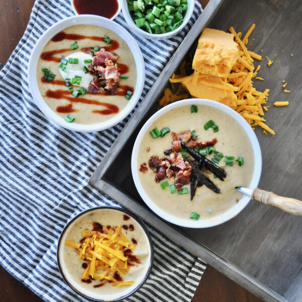 Creamy BBQ Potato Soup with Smoked Bacon and Candied Jalapenos