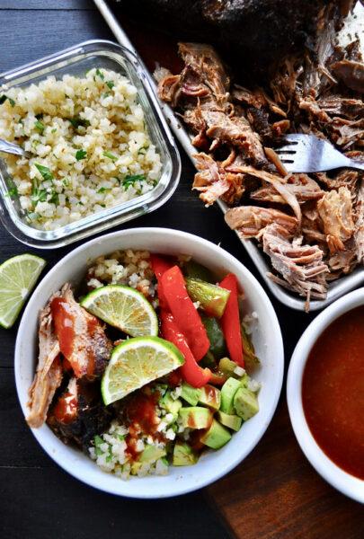 Keto BBQ Pulled Pork Burrito Bowl with Cilantro Lime Cauliflower Rice