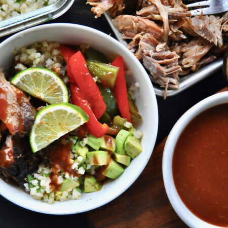 Keto BBQ Pulled Pork Burrito Bowl with Cilantro Lime Cauliflower Rice