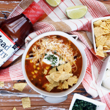 Instant Pot BBQ Turkey Enchilada Soup Thanksgiving Leftovers