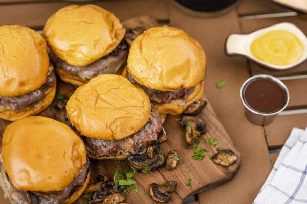 Marinated Mushroom and Swiss Burger