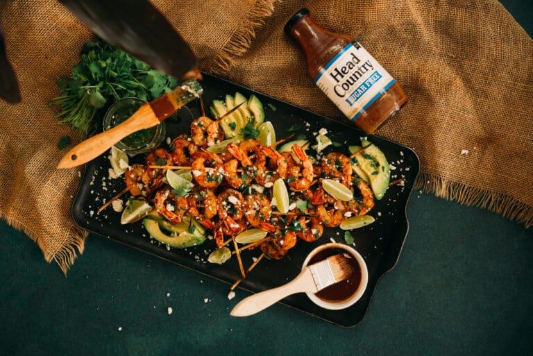 Grilled Shrimp Skewers with Chimichurri | best grilled shrimp recipe, how long to cook shrimp on grill, shrimp skewer marinade