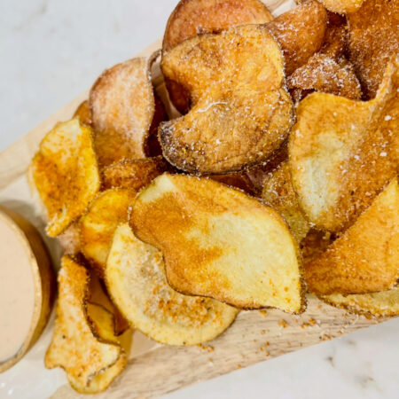 Air Fryer Potato Chips with Parmesan & BBQ Ranch
